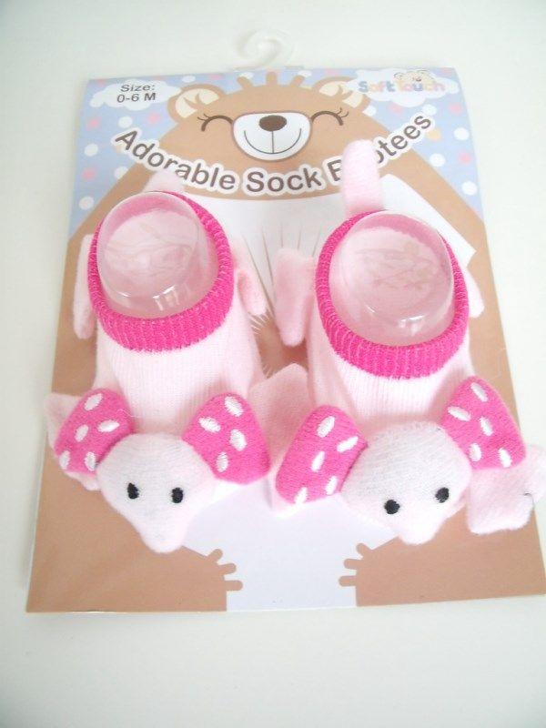 Soft Touch slofje met dierengezicht (Art.nr. 0763 Olifant) Nu te koop bij kralenenkaarten.nl voor pasgeboren.