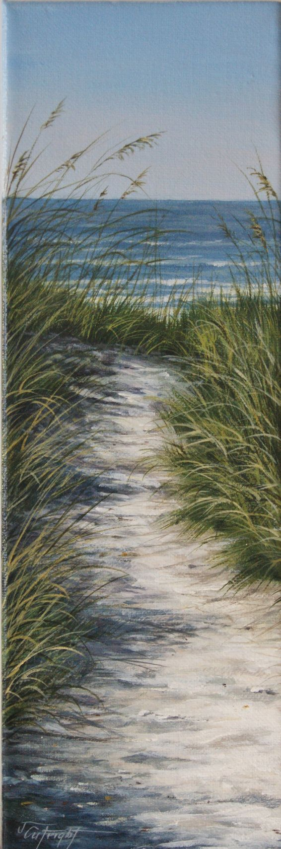 "Original acrylic painting on a 4"" x 12"" wide canvas. Titled, Path to the Beach.  Inspired by memories of walks to the beach and the tranquility that follows from the sound of the ocean waves. A perfect accent piece for those smaller, narrow wall spaces. As a professional artist, I take great pride in creating each and every one of my works of art. All of my pieces are ready to hang and will be packaged and shipped with care.  I will be happy to discuss combined shipping if you are interested…"
