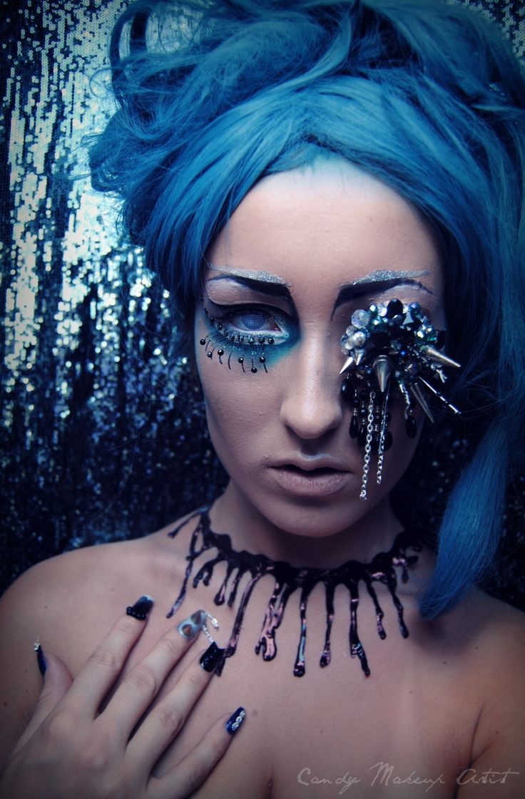 #blue #extreme #makeup #nails, #eyepiece and #makeup by me ...