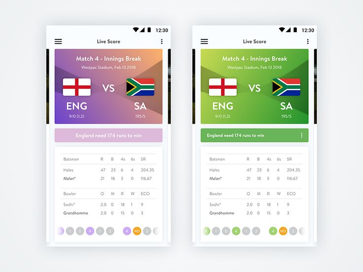 More screens from Match Snapshot UI