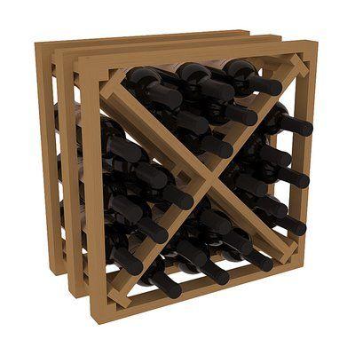 Red Barrel Studio Karnes Pine Lattice X-Cube 24 Bottle Tabletop Wine Rack Finish: Oak