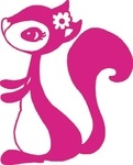 Frau Hörnchen, pink, Velours-Motiv zum Aufbügeln