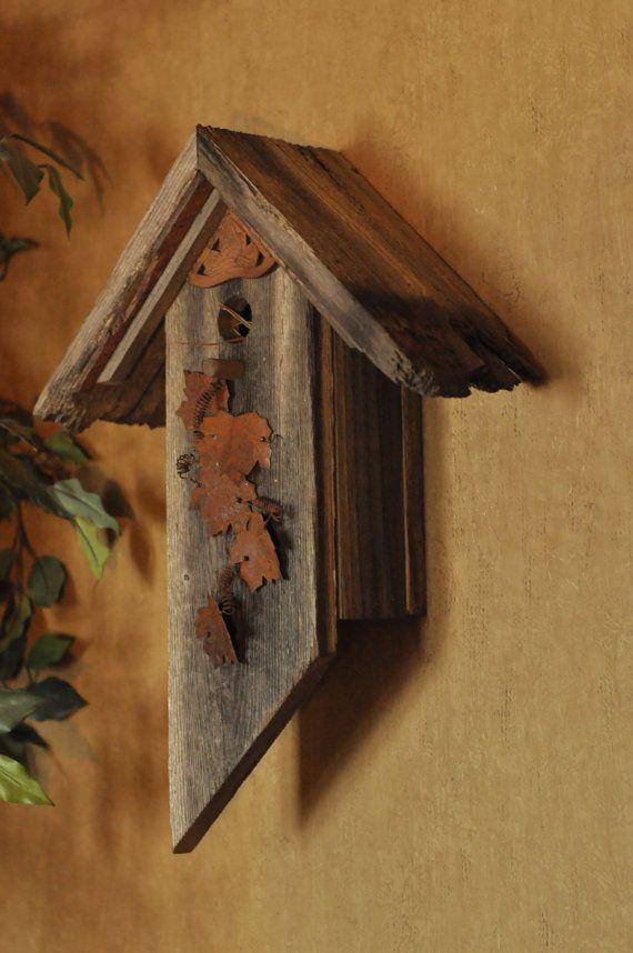 Barn Wood Leaf Bird House by BirdCreekMercantile on Etsy