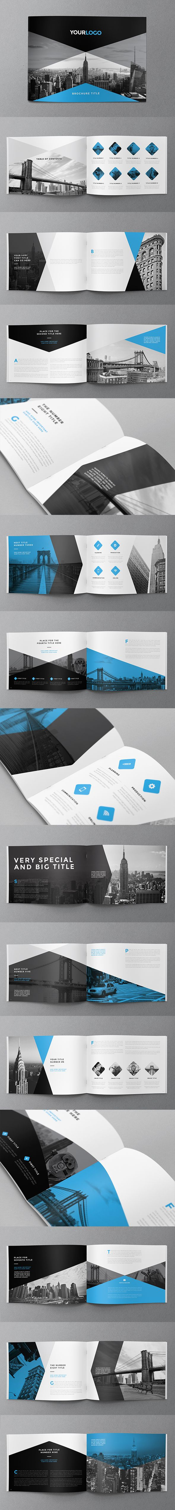 Minimal Modern Black & Blue Brochure. Download here: http://graphicriver.net/item/minimal-modern-black-blue-brochure/11663356?ref=abradesign