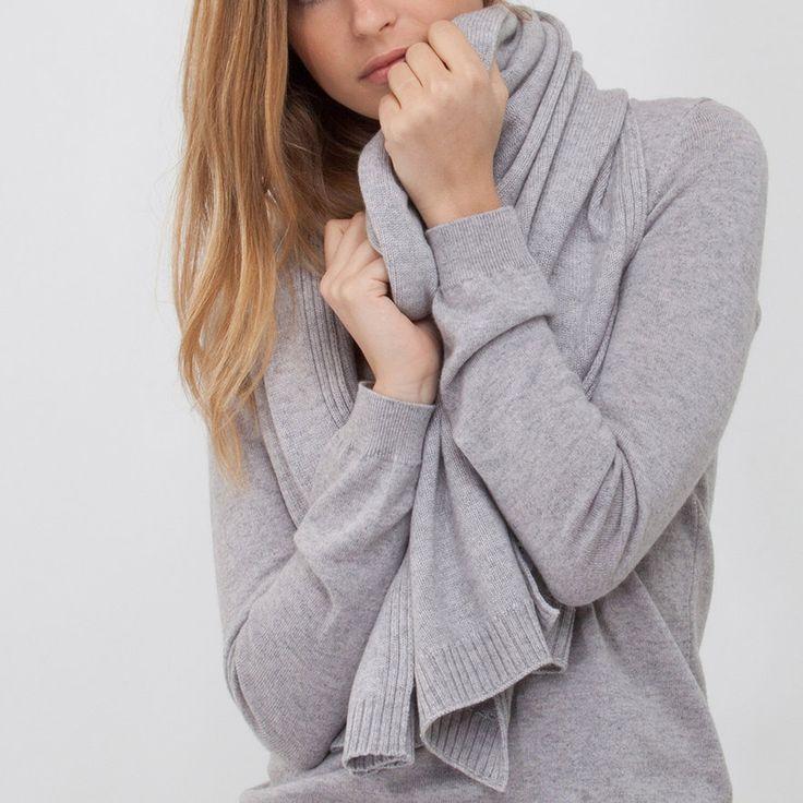 Etole gris tricotée cachemire artabanparis