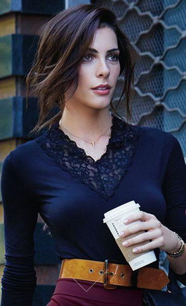 $59.95  Elegant design shirt, 120 den, lace v-neck, soft microfiber quality. one size fits most (XS - S - M)