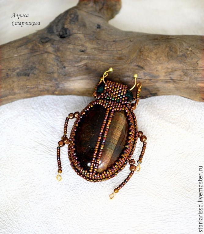 Купить брошь- жук из тигрового глаза - коричневый, тигровый глаз, брошь, брошь с камнем