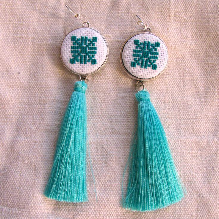Turquoise tassel earrings, Blue tassel earrings, Bohochic, Bohemian Tassel jewelry, Long earrings, hand embroidered earrings, ethnic jewelry by NeedleSChoice on Etsy