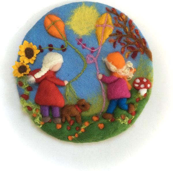 Jahreszeitentisch - Wandbild Herbst.Filzt.Felted,Vilt.Wollbild. - ein…