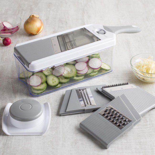 The Chef's Mate Mandoline & Grater is the ideal kitchen tool for slicing firm fruits and veggies. Great for creating beautiful garnishes, thin sliced potatoes or grating cheese for your favourite meal.