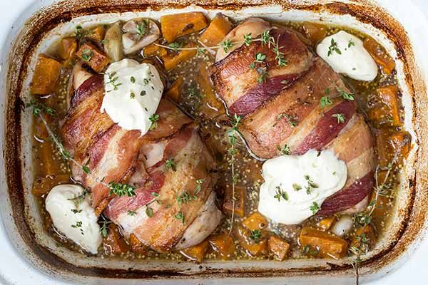 Bacon-wrapped chicken with kumara