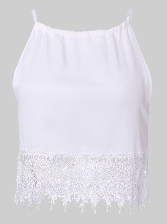 Sexy White Lace Crochet Patchwork Strap Women Tank Top at Banggood