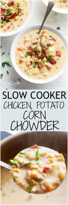 A Slow Cooker Chicken Potato Corn Chowder with crispy bacon pieces and mozzarella cheese! As simple as throwing ingredients into a slow cooker and letting it cook for you! (No Cream and Dairy Free Options!) | http://cafedelites.com