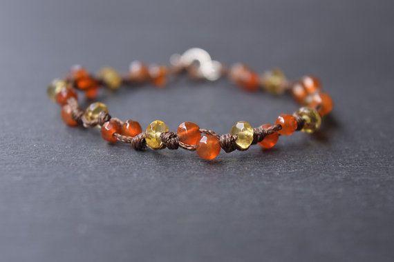 Dainty Carnelian Citrine Hand Knotted Bracelet by InominosJewelry