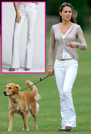 White Jeans 0 White is one of Middleton's go-to colors (she's been photographed in a white mini and a white bikini). At a 2006 charity polo match, she paired white boot cut jeans with a white top and beige cardigan. Get the look: Express Boot Cut Stella Jeans ($69.90, express.com)