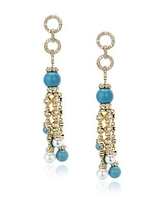72% OFF CZ by Kenneth Jay Lane Turquoise Fringe Earrings