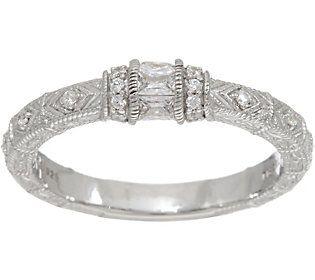 Judith Ripka Sterling Silver Diamonique Estate Style Ring
