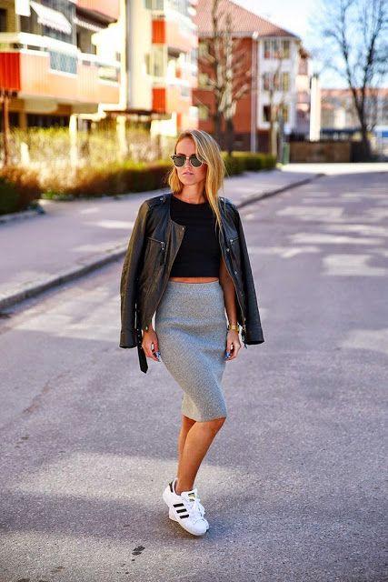 Looks Inspiração: Look: Saia Lápis + Tênis | // fashion | Pinterest | Outfits, Adidas and Skirts
