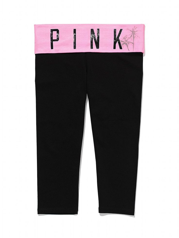 Bling Foldover Yoga Crop Legging - PINK - Victoria's Secret