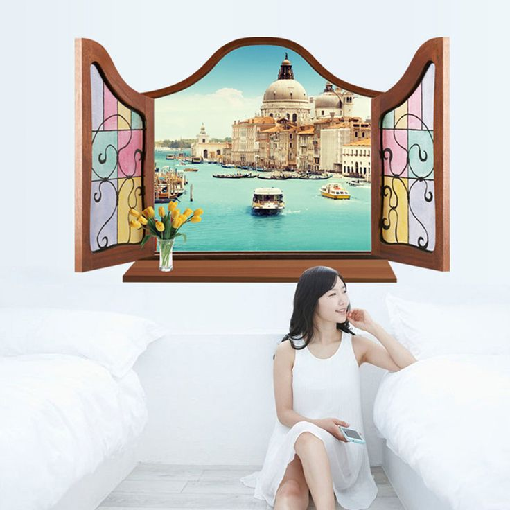 Romantic European Style Mickey Carol Water Venice View Wall Stickers False Window Scenery Living Room TV/Sofa Background MJ8017B #Affiliate