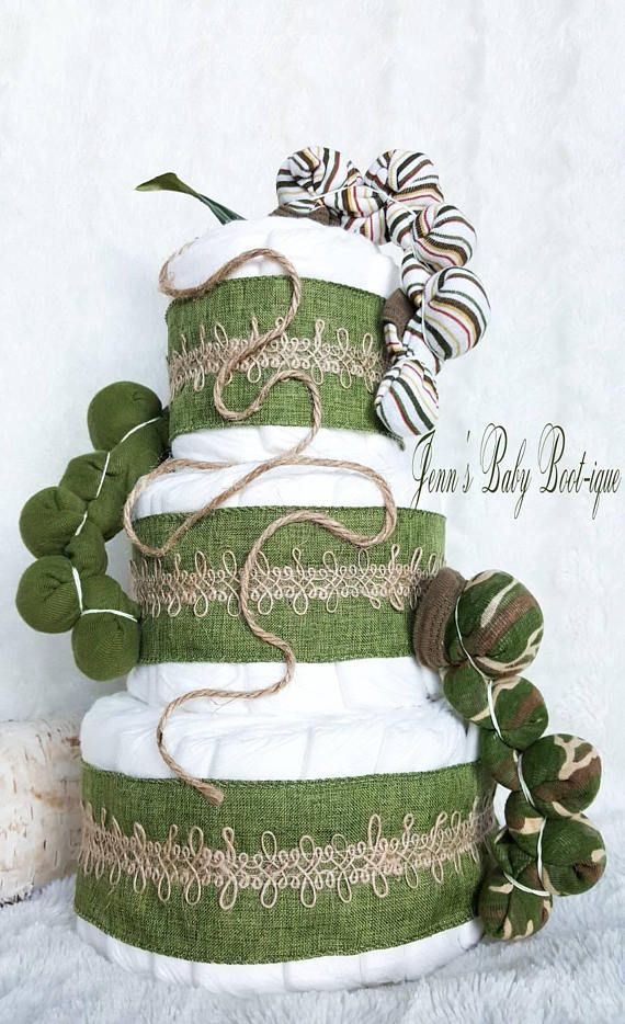 The very country caterpillar diaper cake // green onesie //