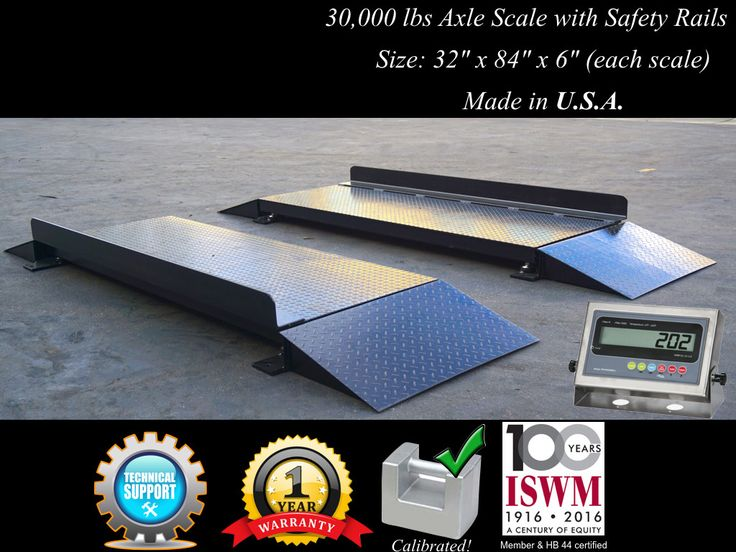 32″ x 84″ x 6″ Axle Truck Scale with Safety Rails l 60,000 lbs