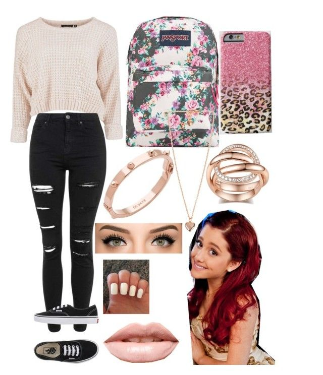 """""""Cat Valentine. (From victorious) inspired outfit❤️"""" by x1dlover4everx ❤ liked on Polyvore featuring Topshop, Vans, JanSport, CC SKYE, Snö Of Sweden, LASplash, women's clothing, women, female and woman"""