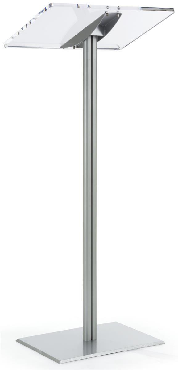Acrylic Podium for Floor, Aluminum Pole & Base - Clear & Silver
