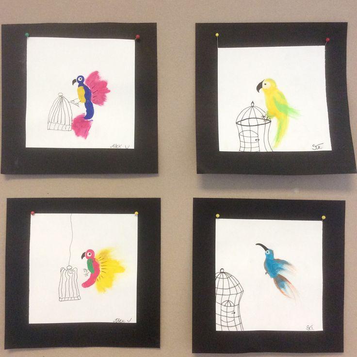 Fingerpainting parrots