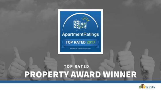 We are pleased to announce that our community has been recognized as a 2017 Top Rated Property committed to service by ApartmentRatings! Thank you to all our valued residents for their positive feedback. Congratulations to the team for this prestigious distinction!