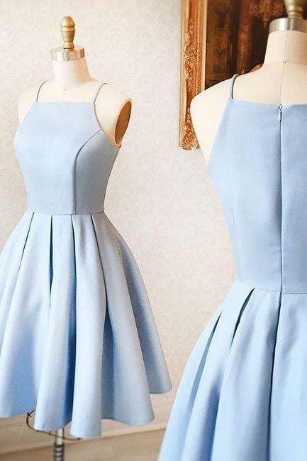 Uhc0043, sky blue homecoming dress, mini homecoming dress, satin homecoming dress, for teens