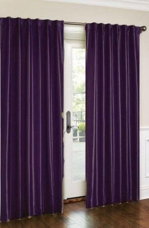 purple bedroom window curtains
