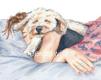 IMPRIMIR perro acuarela 8 x 10 - chica y su perro, siesta, perro mezcla de caniche, sueño, decoración para el hogar