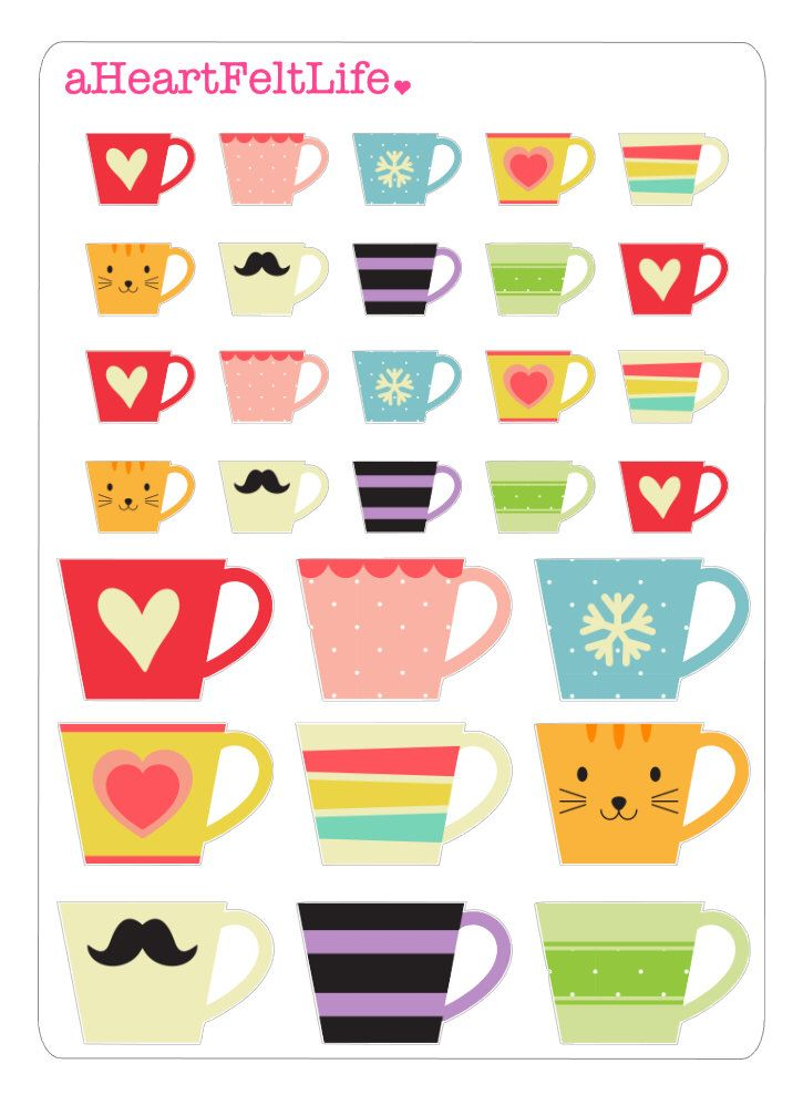 Coffee Mug Stickers for your Planner, scrapbook, calendar, etc. by aHeartFeltLife on Etsy https://www.etsy.com/listing/247986628/coffee-mug-stickers-for-your-planner