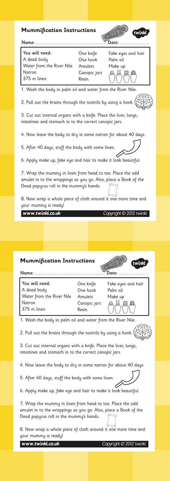 KS2 Ancient Egypt- Mummification Instructions