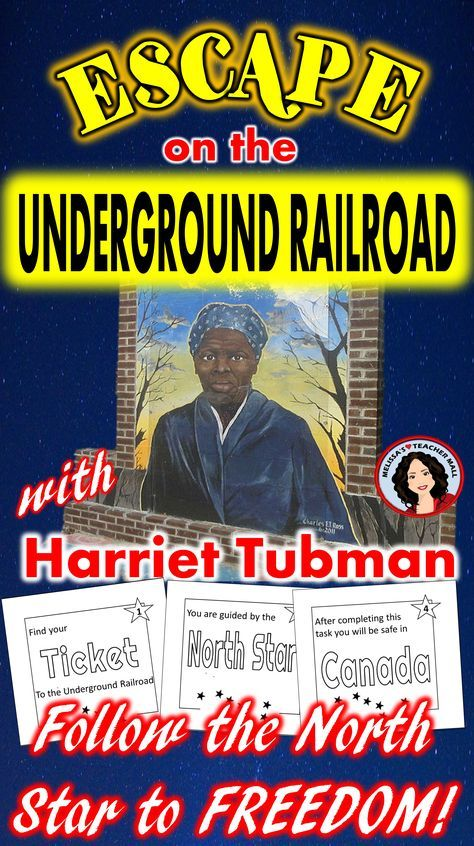 Escape Room featuring Harriet Tubman and the underground Railroad. Fun cooperative learning for school. Review Black History with an engaging game activity. #harriettubman #blackhistory #escaperoom