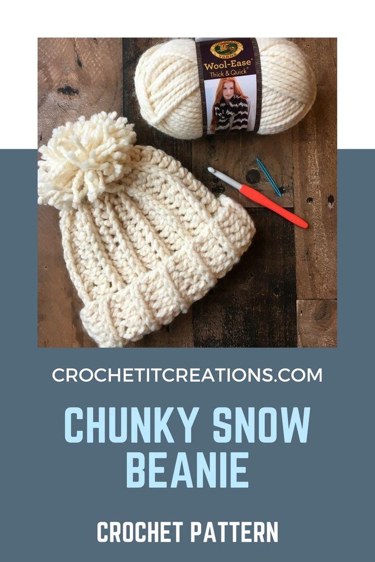 Chunky Snow Beanie Crochet Pattern – Kathy Renzmann