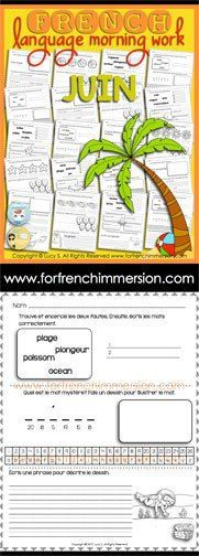 French Language Morning Work - 20 worksheets with exercises in French JUNE - en franais JUIN