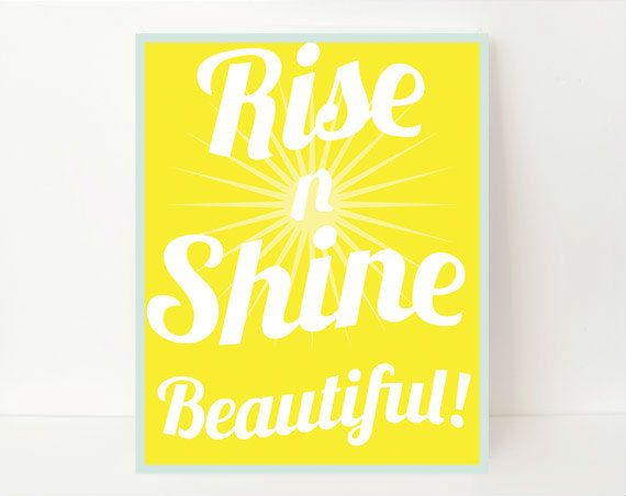 Bright Yellow Girl's Room Art, Modern Girl's Room Art Print 8x10, Rise & Shine, Rise 'n' Shine