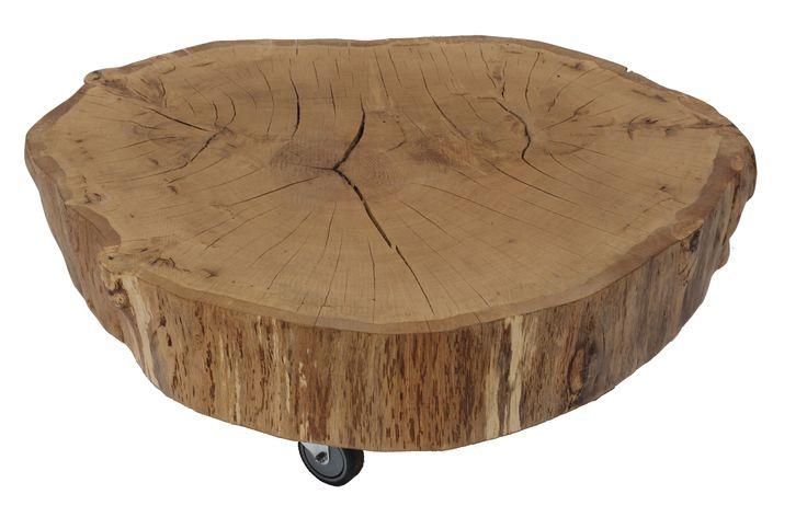 Willem - Mooi salontafeltje van een dikke plak eiken hout. Afgewerkt met 1 laag veredelaar, moet nog nabehandeld worden met olie of lak.