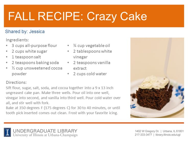 Crazy Cake recipe from Jessica. Cookbook recommendation: So Easy: Luscious, Healthy Recipes for Every Meal of the Week by Ellie Krieger (http://ow.ly/pSZGF)