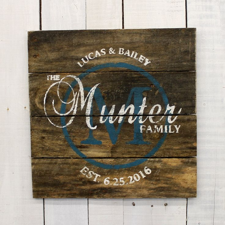 Personalized Family name sign. This reclaimed pallet wood sign would be a great decoration for a rustic wedding. It would also be a meaningful wedding gift for the couple. It also could be a gift for a bridal shower, housewarming gift or anniversary gift. It would also be a wonderful gift for parents or grandparents on special occasions. Some people also have used them for business signs or company signs. For the wording on your custom name sign, you can choose any combination that you would…