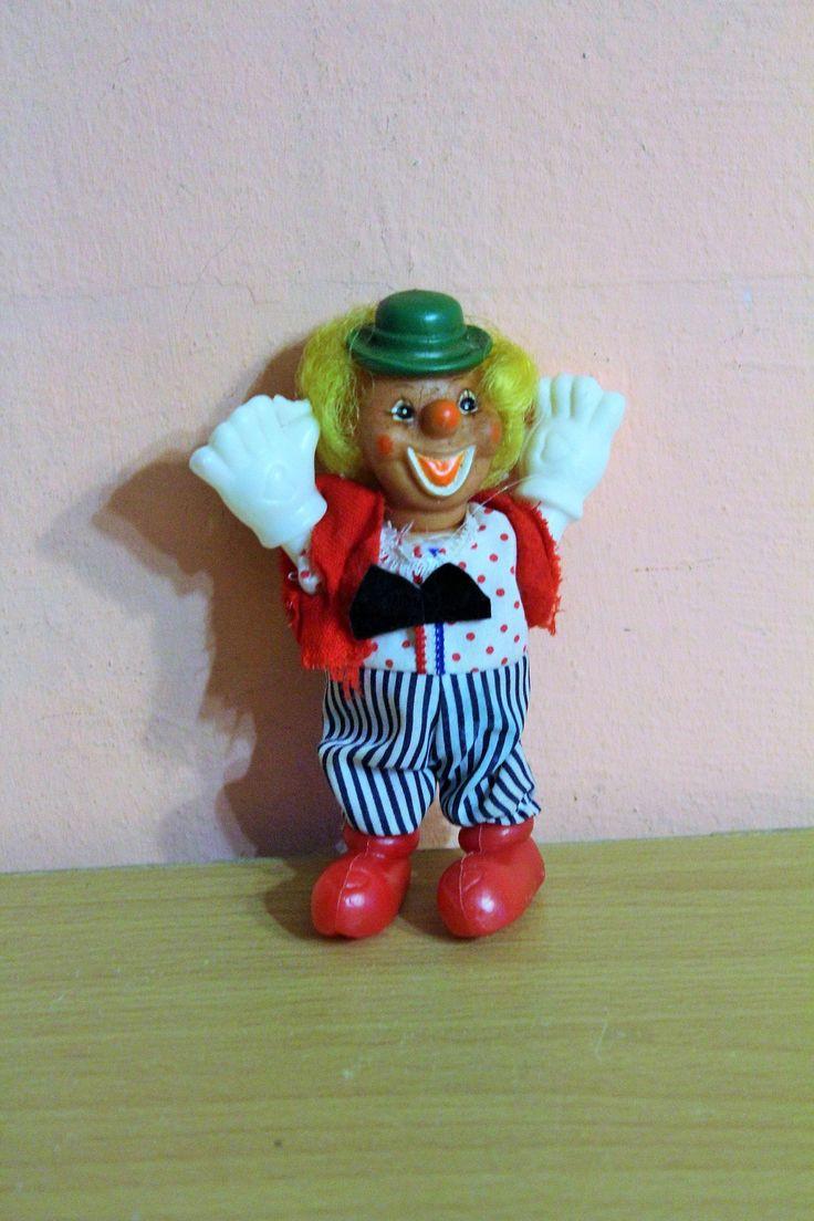 Porcelain Clown Doll, Ceramic Clown Figurine, Blonde Hair Clown, Red Vest, Small Mini Clown, Collectible by Grandchildattic on Etsy