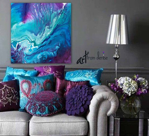 Large Abstract Canvas Wall Art Teal