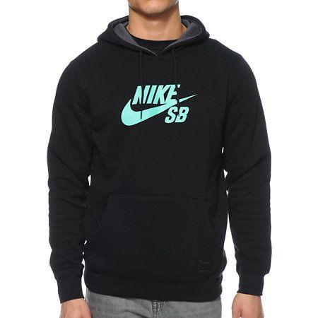 #Nike SB Icon Black Pullover Hoodie