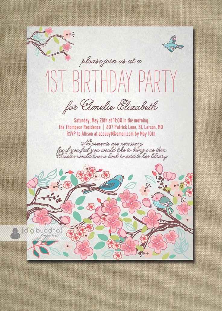 Bloom Bird Birthday Invitation Garden Party Floral Baby Girl First Birthday Pink Milestone Invite DIY Printable or Printed - Amelie Style. $20.00, via Etsy.