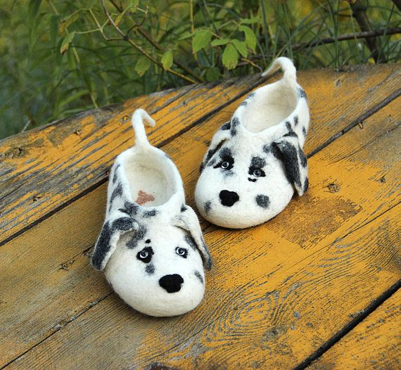 Dalmatian dogs slippers wool felted flat shoes/toy puppy