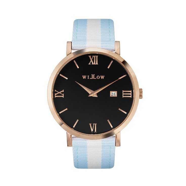 Roma Rose Gold Watch & Interchangeable Baby Blue & White NATO Strap.