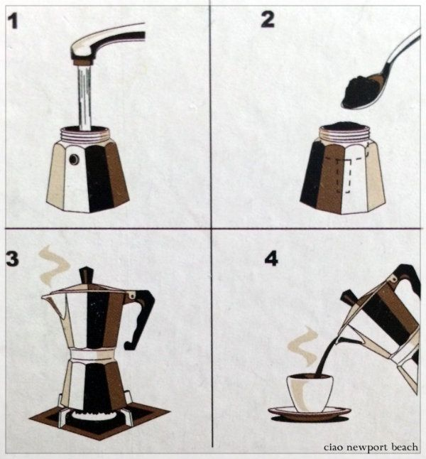Italian style coffee or espresso is so easy to make! I do it every morning, and then just add foamed milk to make a cappuccino. All you need is a moka pot or machinetta which works on the stove top. For a cappuccino, all you do is add warmed frothy milk to the espresso.