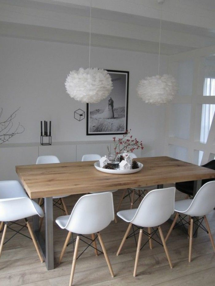White Plastic Chairs Light Wooden Table White Chandelier Par